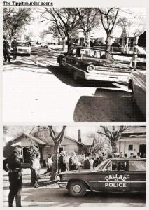 La scena del crimine a Oak Cliff, con l'auto dell'agente Tippit parcheggiata a lato strada