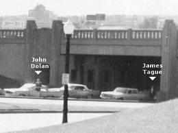 La posizione di James Tague in Dealey Plaza, il 22 novembre 1963